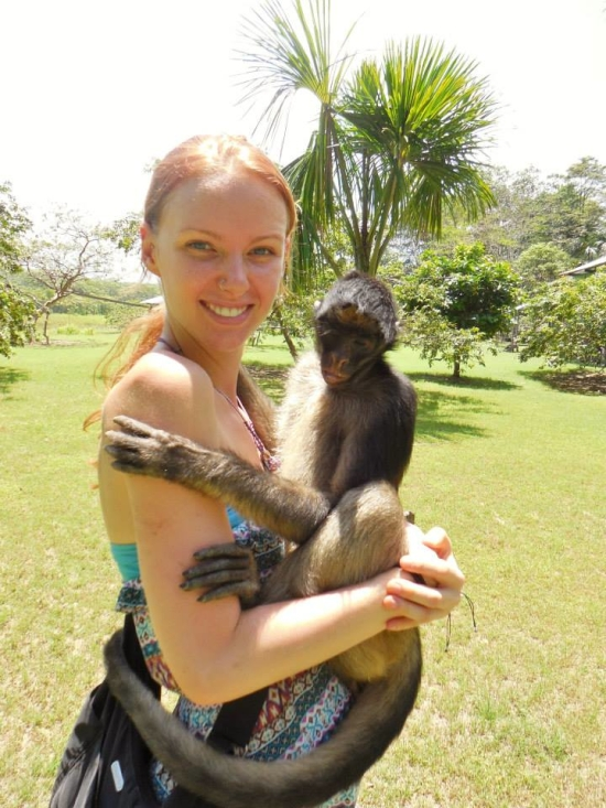 Hanging out with Carolina the Spider Monkey on Isla de los Monos (Monkey Island) in Peru
