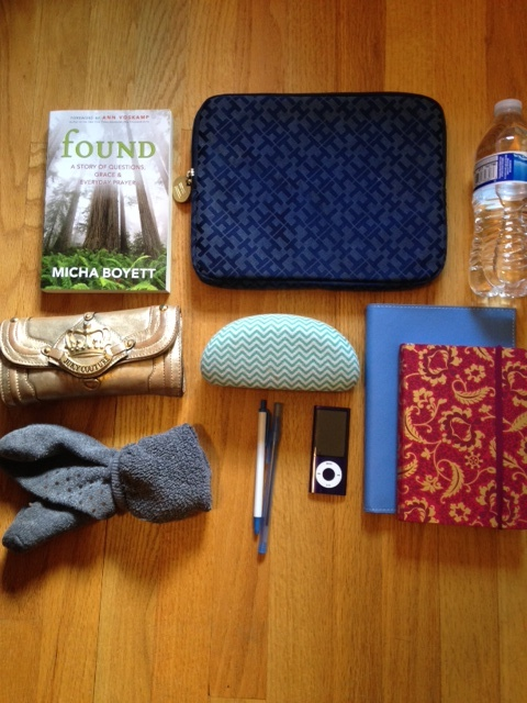 What I keep in my backpack: IPad, book, water, wallet, socks, IPod, planner, notebook, pens, sunglasses